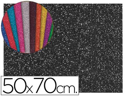 Goma EVA Purpurina negro 50x70