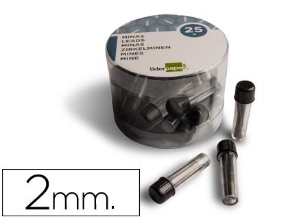 Minas de grafito para compás 2 mm estuche de 3 minas Minas de grafito para compás 2 mm. de gran resistencia en estuche de 3 unidades.