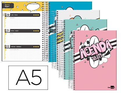 Agenda Escolar 18-19 Bilingüe Basic Semana Vista A-5