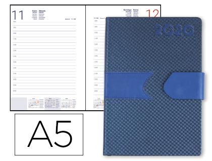 Agenda 2020 día página A5 Azul Lidhor