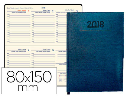 Agenda 2018 de bolsillo semana vista Creta azul 8x15