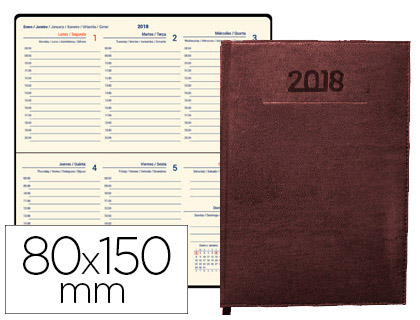 Agenda 2018 de bolsillo semana vista Creta burdeos 8x15