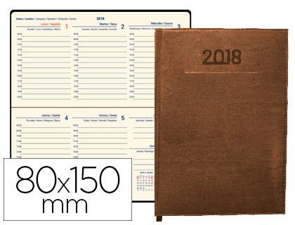Agenda 2018 de bolsillo semana vista Creta marrón 8x15