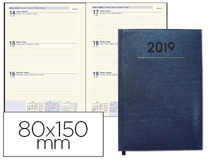 Agenda 2019 de bolsillo semana vista Creta Azul 8x15