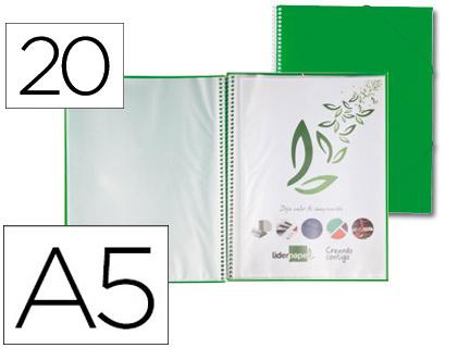 Carpeta con 20 fundas A-5 espiral verde