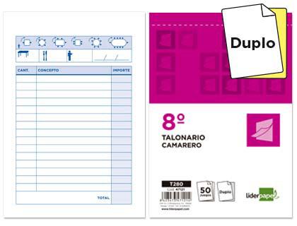 Talonarios para camareros duplicados 10,5x15,5 cm (5 talonarios)