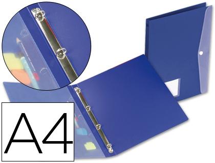 Carpeta 4 anillas con dossier polipropileno A-4 azul Beautone