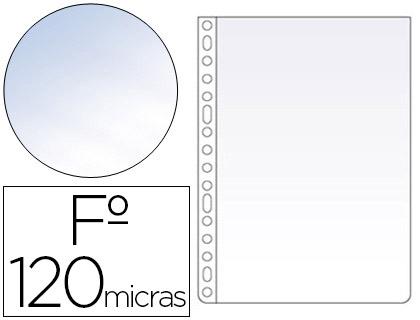 Fundas multitaladro transparente CRISTAL 120 micras folio (100 unds)