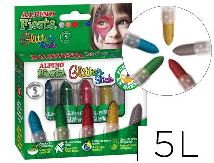 Barra maquillaje Alpino PURPURINA 5 colores surtidos Barra maquillaje Alpino PURPURINA 5 colores surtidos. barras de maquillaje transparente con purpurina de colores. No necesita base. Fácil aplicación. Estuche de 5 barritas. Colores surtidos. 5 g.