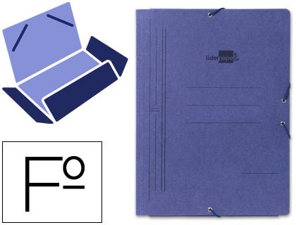 Carpeta gomas FOLIO 3 solapas cartón pintado azul