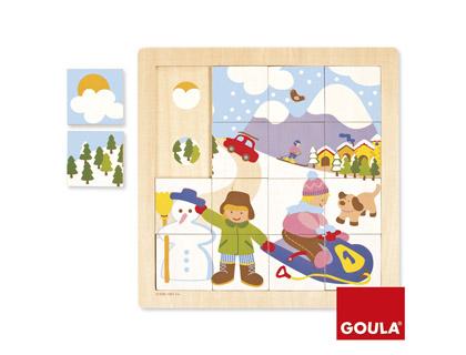 Puzle madera invierno 16 piezas Goula + de 2 años
