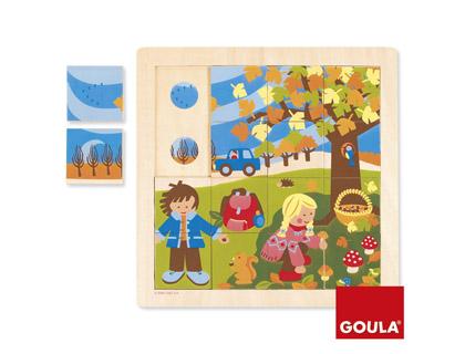 Puzle madera otoño 16 piezas Goula + de 2 años