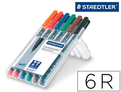 Rotulador Staedtler retroproyección Lumocolor 6 colores 1-0,8 mm