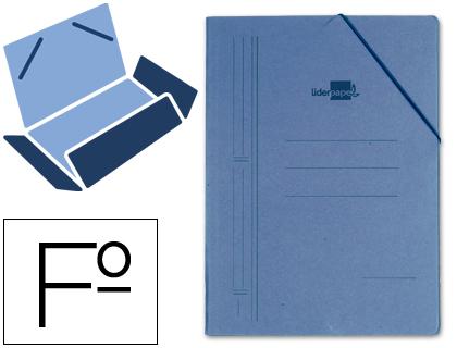 Carpeta de gomas folio 3 solapas cartón compacto azul