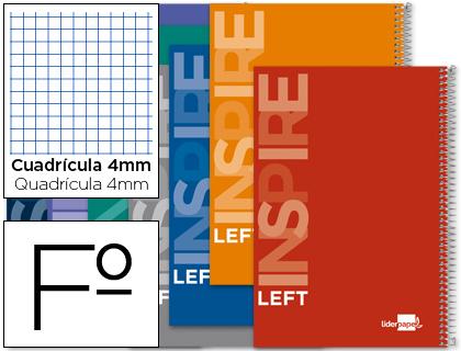 Cuaderno espiral con margen para zurdos folio colores surtidos