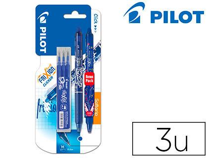 Bolígrafo Pilot Frixion clicker azul + 1 bolígrafo ed. Limitada + 3 recambios