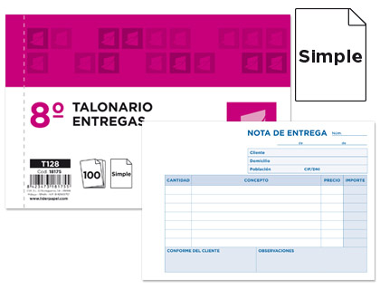 Notas de entrega ORIGINAL apaisado de 10,5 x 15,5 cm - 5 unds.