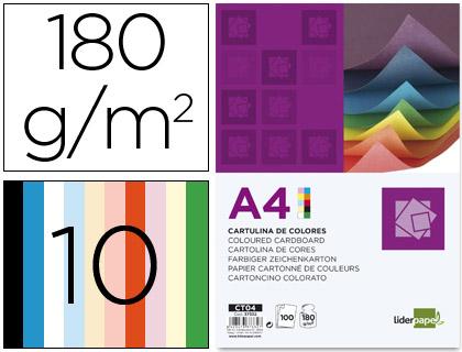 Cartulina A-4 10 colores surtidos (Paquete 100 unds)