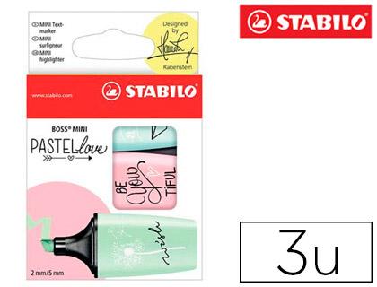 Rotulador Stabilo Boss miniPASTELLOVE pizca de menta rubor rosa y toque de