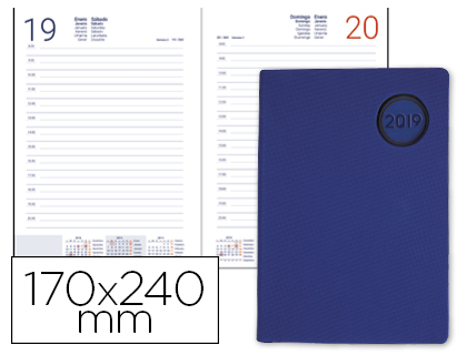 Agenda 2019 día página 17 x 24 cm Kilkis azul